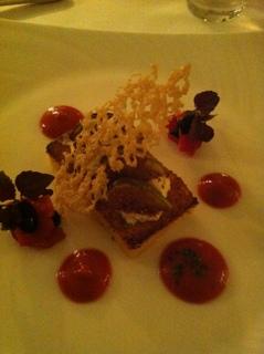 Starter:  Polenta cake with honeyed figs, mascarpone & oven dried tomatoes