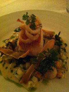 Main:  Whity Cod with calamari & winter vegetables