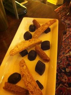 Coffee & Petit fours:  chocolates, biscotti & brandy snaps