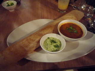 My main:  Masala dosa with coconut & yoghurt chutney & spicy soup