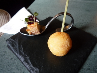 Canapes:  risotto ball & smoked mackerel with beetroot