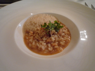 Shrimp risotto with shellfish bisque
