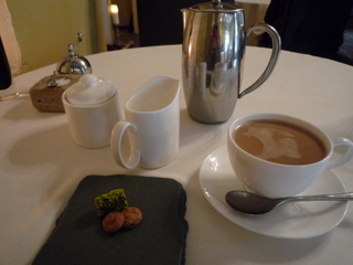 Coffee & Petit fours:  Dark chocolate pistachio truffle; choc chip cookies
