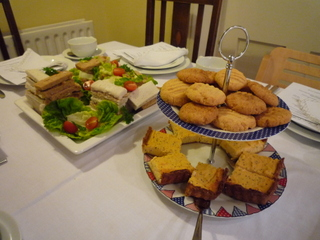Finger sandwiches, cheese biscuits (top) & sweet potato tart (bottom)