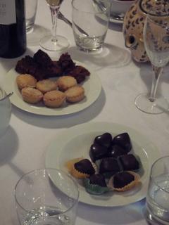 Petits fours:  Mince pies, Xmas cake, homemade chocolates