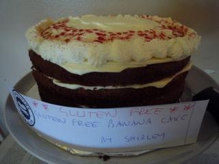 My gluten free banana cake decorated with freeze dried strawberry powder