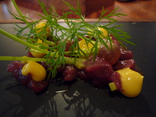 Valley venison, charcoal oil, mustard and caramelised fennel