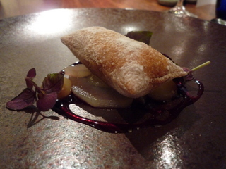 Oatmeal sack with stout ice cream inside, pears, and elderberry vinegar