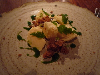 Sheep's milk ice cream, ginger bread, sweet cicely and caramel