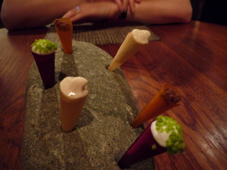 Cones made of beetroot, butternut squash & parsnip gel,