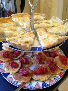 Pear & stilton tart; sweetcorn fritters & tomato relish
