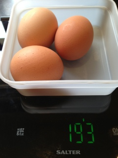 Weigh the eggs