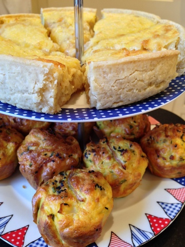 Swiss onion tart & cauliflower muffins