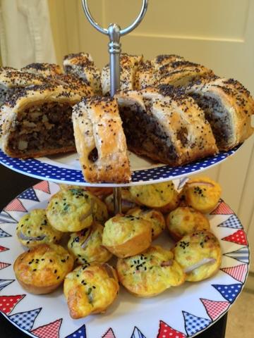 Mushrom & chestnut roulade / Cauliflower cheese muffins