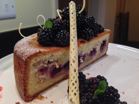 Blackberry & apple cake with white chocolate swirls
