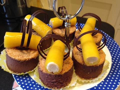 Rum & Chocolate Truffle Torte wiht Banana Mousse & Peach Jelly