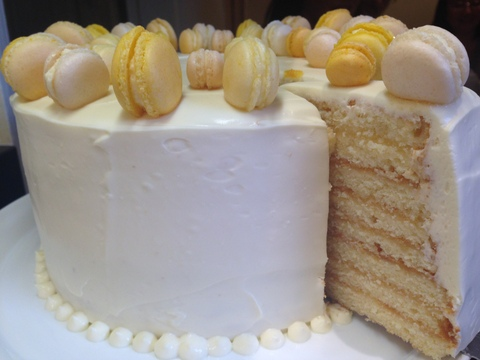 Lemon curd layer cake & macarons