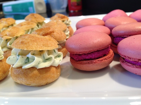 Savoury choux with dill & basil cream cheese filling / beetroot macarons