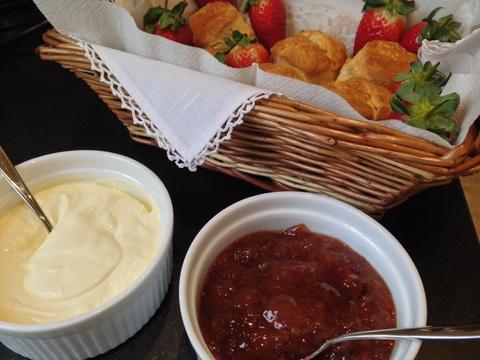 Scones, clotted cream & homemade plum jam