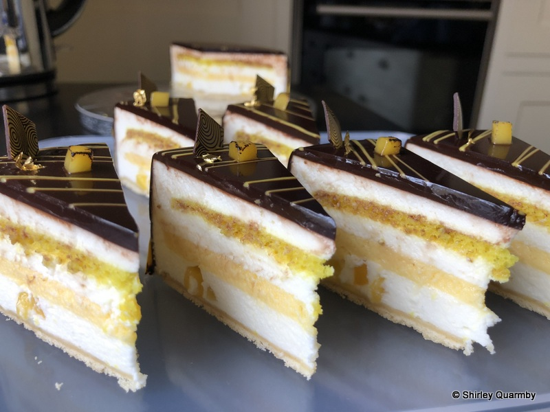 Coconut, lime, mango and chocolate entremet